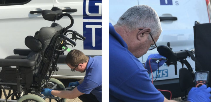Repairs carried out to rea azalia and testing a controller on electrically powered wheelchair
